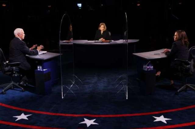 Kamala Harris et Mike Pence s'affrontent lors d'un débat télévisé le 7 octobre à Salt Lake City, Utah.