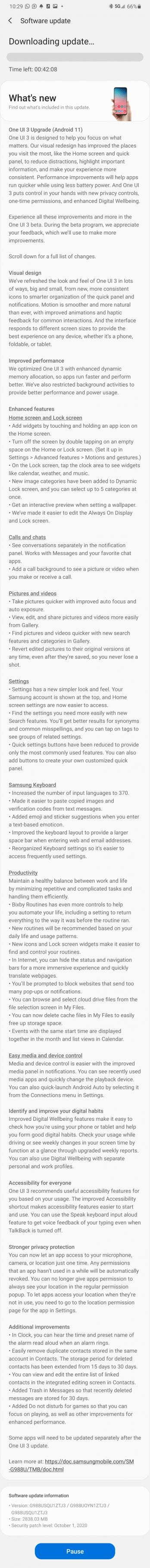 Samsung Galaxy S20 Ultra One UI 3.0 Public Beta Update Changelog USA