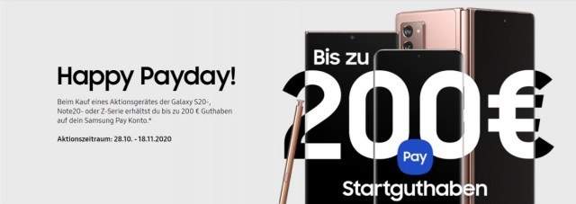 Samsung Germany offers up to 200€ off via Samsung Pay rebate when you buy a flagship