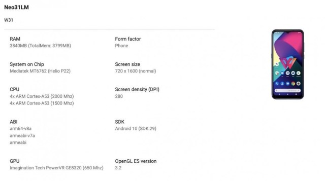 Upcoming LG W31 leaks through Google Play Console, image and specs outed
