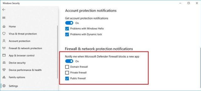 Firewall notifications with custom configuration