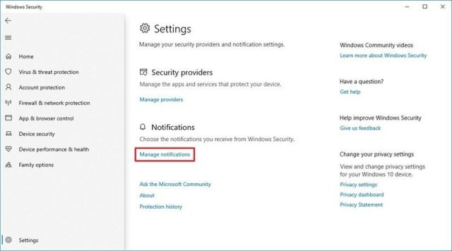 Windows Security Manage Notifications option