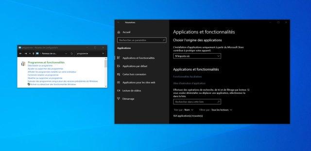 Windows 10 – Programmes et fonctionnalités (Panneau de configuration) et Applications et fonctionnalités (Paramètres)