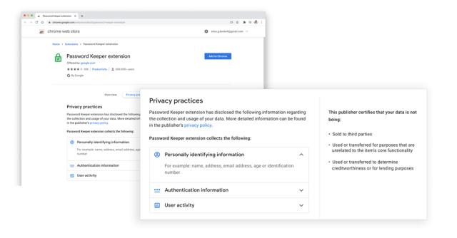 Chrome Web Store: Plus de transparence sur les données collectées