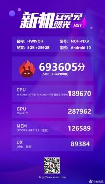 AnTuTu scores: Kirin 9000 (5 nm)