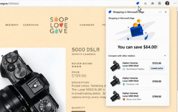 Microsoft Edge et les outils dédiés au Shopping en ligne