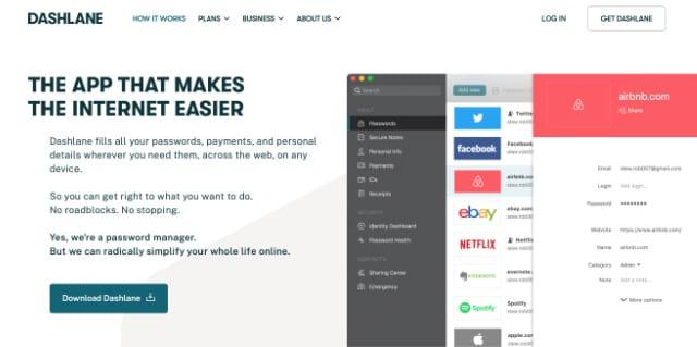 Dashlane website showing app