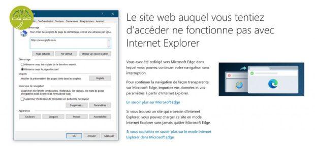 Internet Explorer sous Windows 10