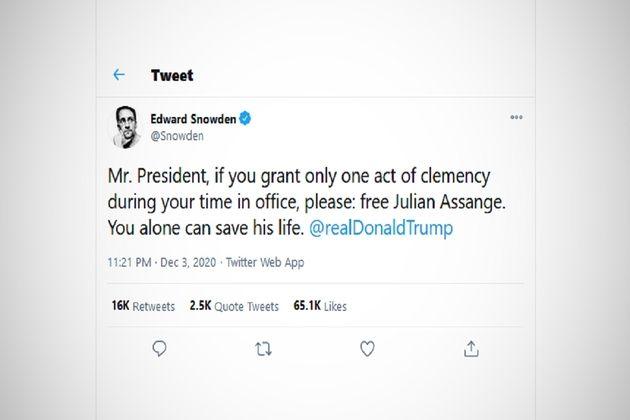 Edward Snowden demande à Trump de gracier le fondateur de Wikileaks, Julian Assange