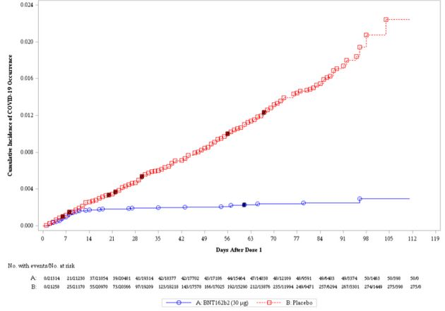 En rouge, le nombre de cas Covid-19 dans le groupe placebo. En bleu, les cas Covid du groupe ayant reçu...