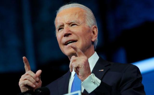 Le président élu Joe Biden dans son quartier général de Wilmington, dans le Delaware, le 14 décembre.