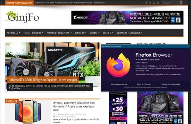 Navigateur Mozilla Firefox 84.0.1