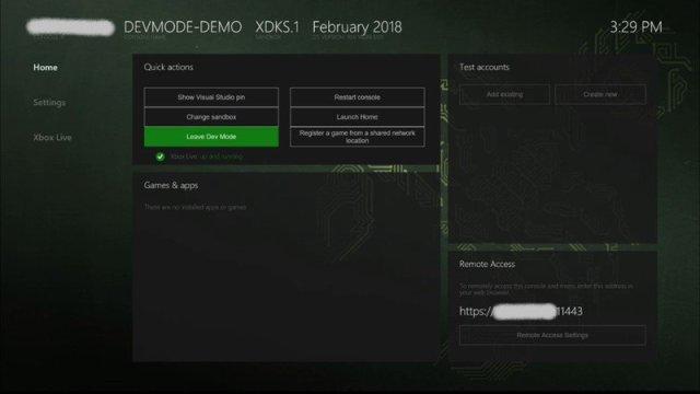 Xbox Dev Mode Homescreen