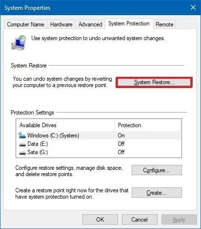 Windows 10 start system restore