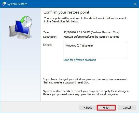 Windows 10 complete system restore