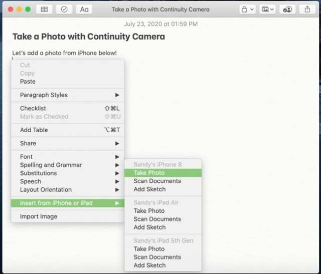 Take Photo Continuity Camera-Mac iPhone
