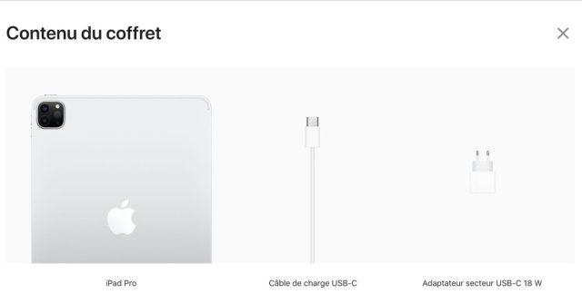 iPad Pro Boite Chargeur 18 W