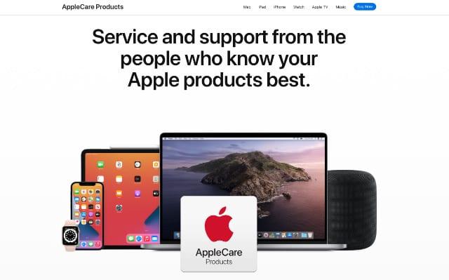AppleCare banner from Apple's website