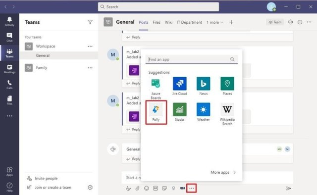 Polly poll extension for Microsoft Teams