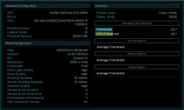 Performance du Core i9-11900K sous le benchmark Ashes of The Singularity (1400p)