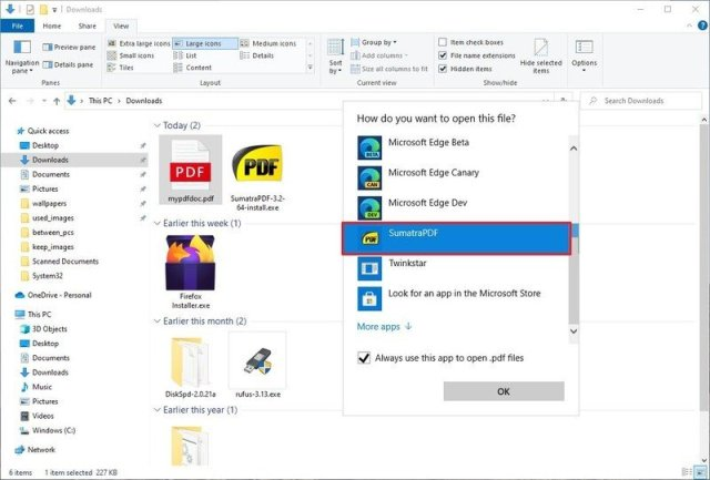 Change default PDF app from context menu
