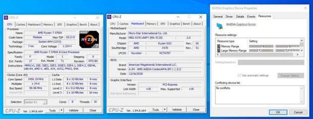 Technologie SAM avec un processeur Ryzen 7 3700X et une GeForce RTX 30 series