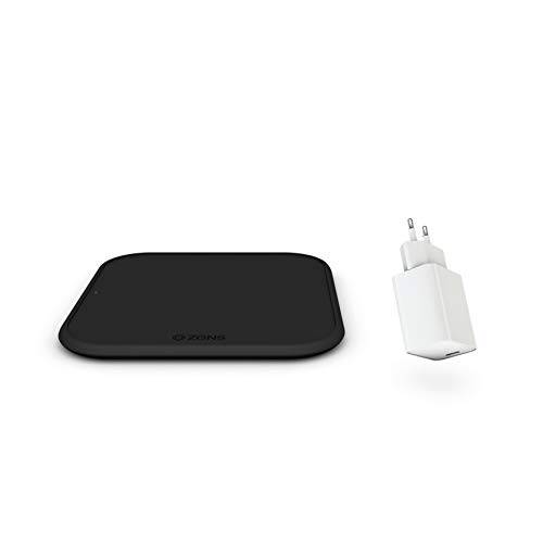 ZENS iPhone 12 Starter Pack avec Chargeur sans Fil, QC 3.0 & 45W USB-C PD Prise d'alimentation (EU) et câble USB-A vers Micro-USB (Apple & Samsung Fast Charging, Épaisseur 5mm, Surface antidérapante)