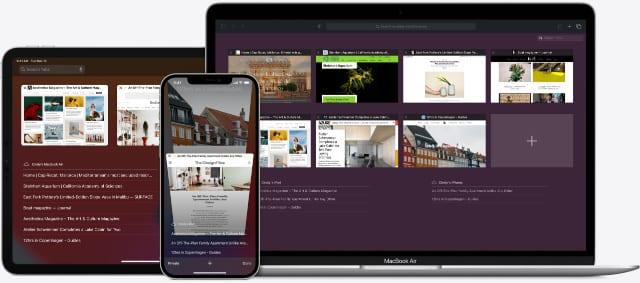 Safari browser on iPhone, iPad, and MacBook