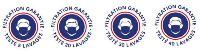 Logo devant être apposé sur l'emballage des masques en tissu mis sur le marché en France. (MINISTERE DE L'ECONOMIE)