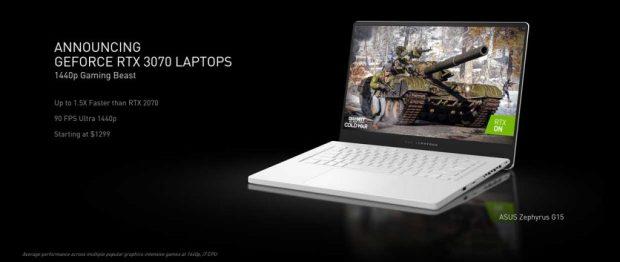 Ordinateur portable équipé d'une GeForce RTX 3070