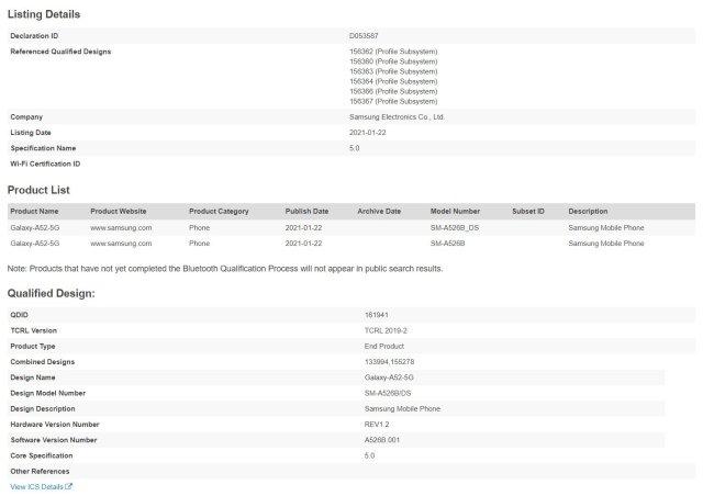 Samsung Galaxy A52 Bluetooth SIG Certification