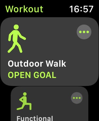 Workout app on Apple Watch with Outdoor Walk