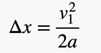 change in x equals velocity squared over 2 times acceleration