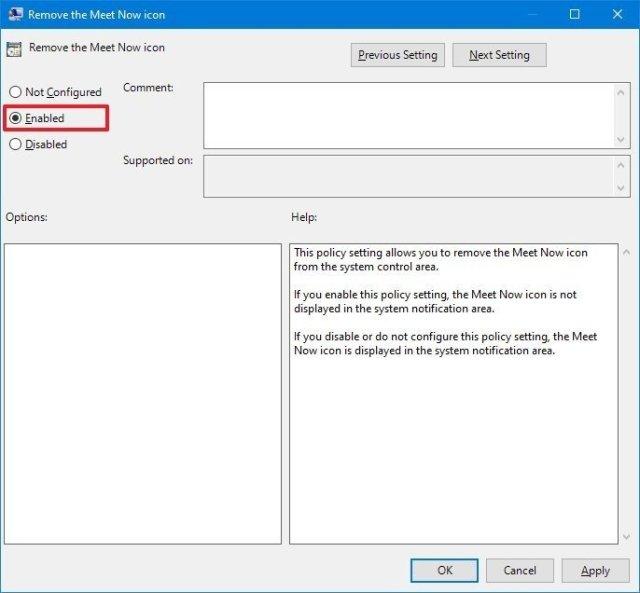 Gpedit disable Meet Now on Windows 10