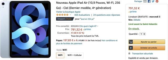iPad Air 4 bleu Amazon