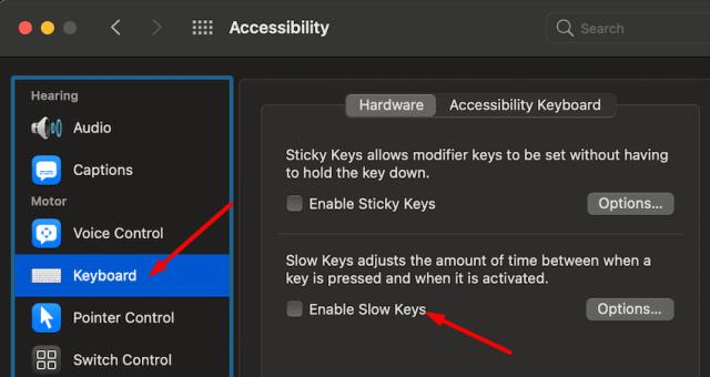disable slow keys macbook