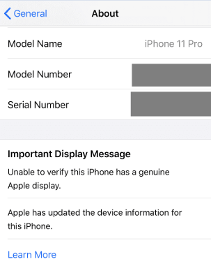 Unable to verify this iPhone has a genuine Apple display