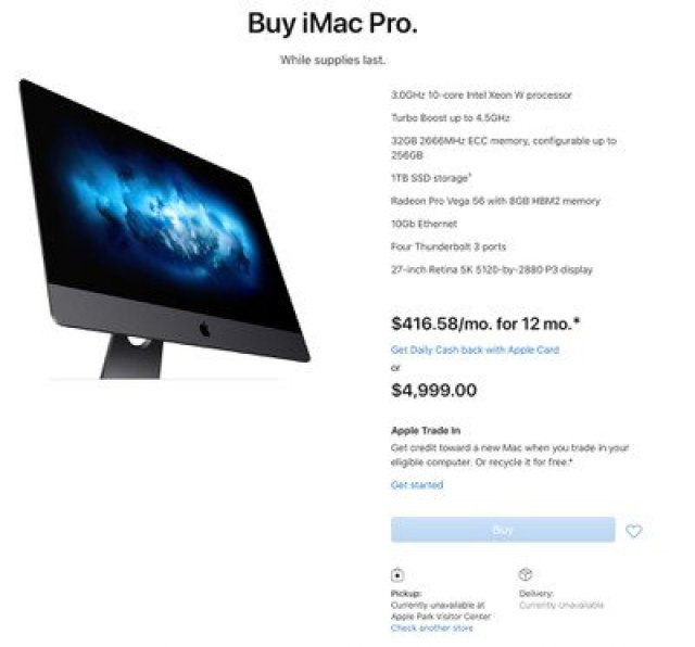imac pro currently unavailable