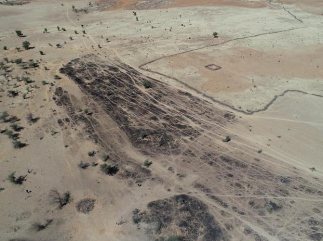 Vue aérienne de la zone touchée, près de Bounti (Mali), le 25 janvier.