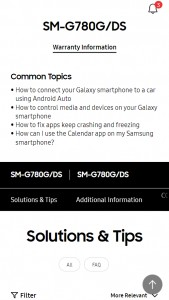 Samsung Galaxy S20 FE (4G but with Snapdragon 865): Support page for SM-G780G/DS