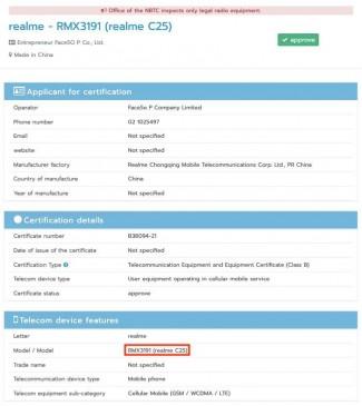 Realme C25 NBTC and Geekbench listings