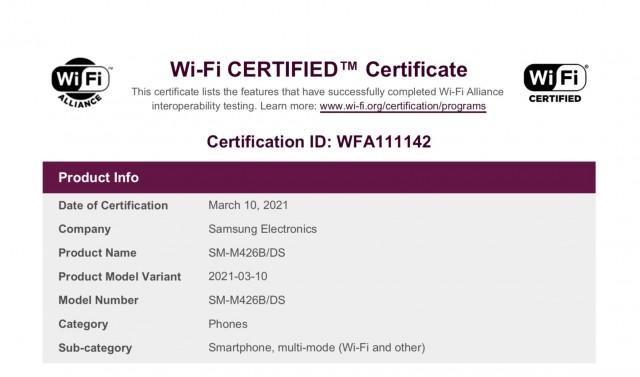 Samsung Galaxy M42 Wi-Fi certification