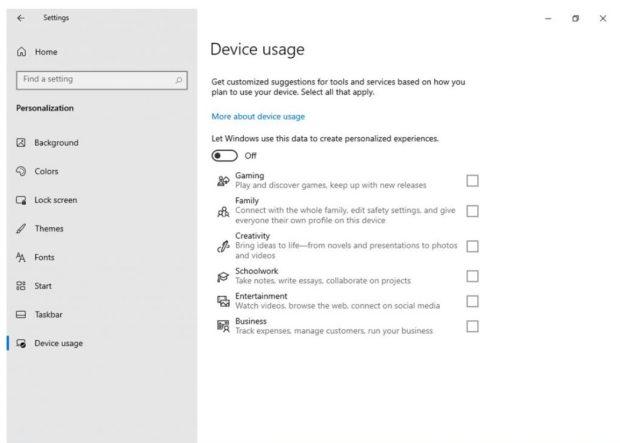 Windows 10 21H2 et la page « utilisation de l'appareil » dans Paramètres