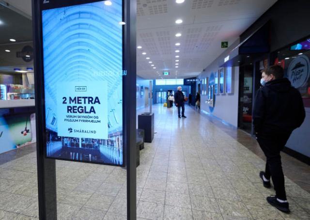 Dans un centre commercial de Reykjavik, le 11 février.