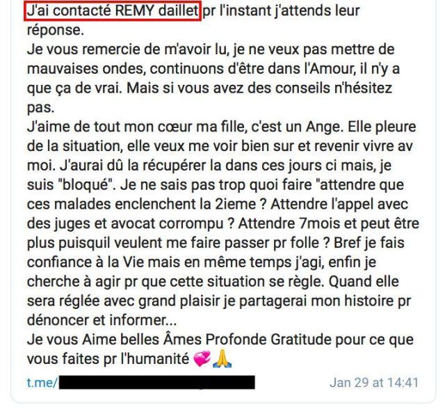 Lola Montemaggi affirme sur un groupe Telegram avoir contacté Rémy Daillet-Wiedemann, figure du conspirationnisme français, après un jugement lui retirant la garde de sa fille, le 29 janvier 2021. (LOLA MONTEMAGGI / TELEGRAM)
