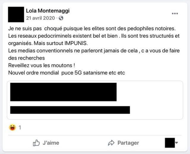 Un message publié sur Facebook par Lola Montemaggi, le 21 avril 2020. (LOLA MONTEMAGGI / FACEBOOK)