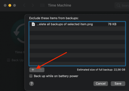 time machine exclude files