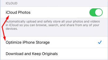 Optimize Storage iCloud Photos iphone