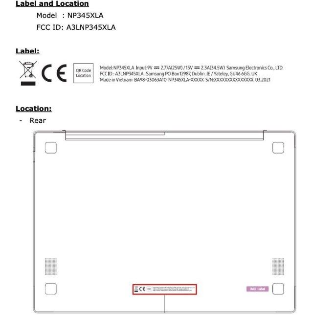 Samsung Galaxy Book Go Design FCC Certification