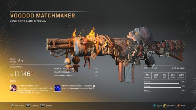 Outriders Legendaries Voodoo Matchmaker